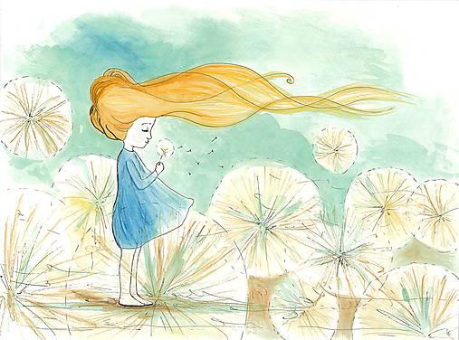 Girl with a dandelion, akvarel, kresba