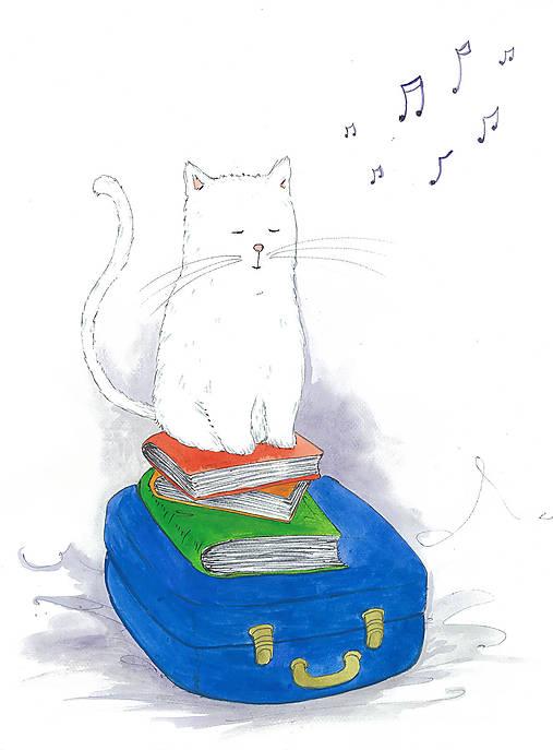 Listen a music, akvarel, kresba