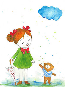 Kresby - S dazdnikom, akvarel, kresba - 7690827_