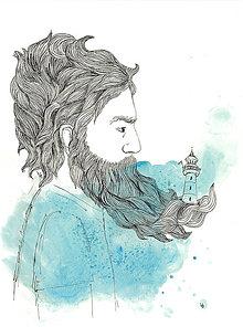 Obrázky - Man with a beard, akvarel, kresba - 7692453_