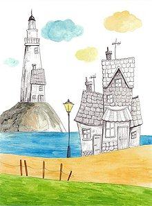 Obrázky - Seaside town 1, akvarel, kresba - 7693883_