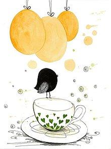 Obrázky - Tea time 2, akvarel, kresba - 7693909_