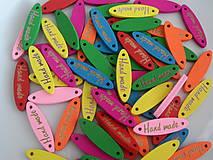 Galantéria - HANDMADE-farebné štítky, mix farieb - 7693056_