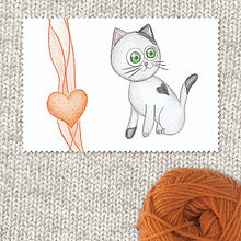 Obrazy - VÝPREDAJ - Mačička a srdiečko (2) - 7694495_