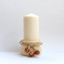 Svietidlá a sviečky - Svietnik pletený Tri oriešky - 7695769_