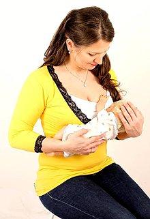 Tehotenské/Na dojčenie - Dojčiace tričko 3v1, 3/4 rukáv- V - s čipkou - 7696868_