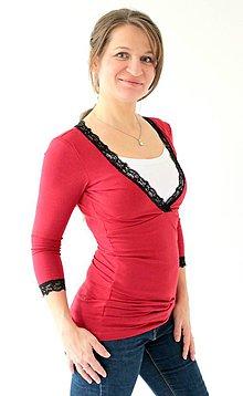 Tehotenské/Na dojčenie - Dojčiace tričko 3v1, 3/4 rukáv- V - s čipkou - 7696889_