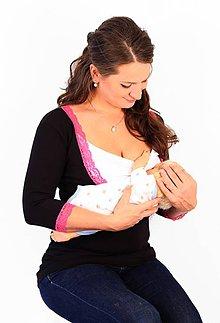 Tehotenské/Na dojčenie - Dojčiace tričko 3v1, 3/4 rukáv- V - s čipkou - 7696906_