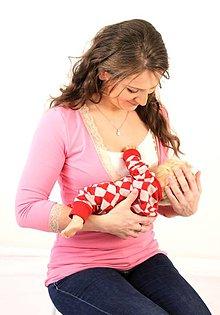Tehotenské oblečenie - Dojčiace tričko 3v1, 3/4 rukáv- V - s čipkou - 7696947_