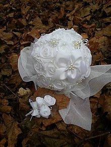 Kytice pre nevestu - Biela svadobná kytica - 7694783_