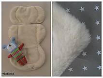 Textil - Ovčie rúno podložka do autosedačky 0-13kg MERINO Hviezdička sivá - 7698326_