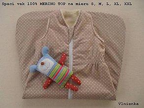 Textil - Spaci vak na zimu pre deti 100% Merino Top s kašmírom BODKA béžová - 7695370_