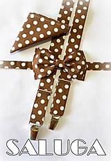 Hnedé pánske bodkované traky + motýlik + vreckovka
