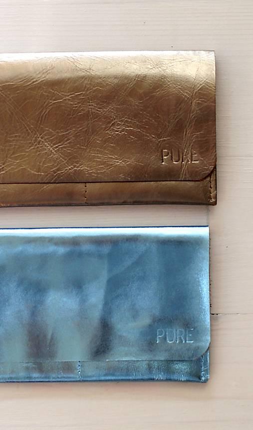 Peňaženky - Kožené púzdro na doklady SPARKLE BLUE / GOLD - 7697853_