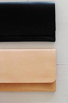 Peňaženky - Kožené púzdro na doklady NATURAL / BLACK - 7697818_