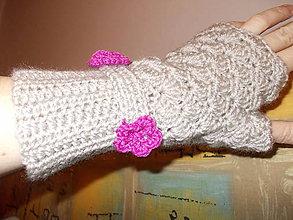 Rukavice - Háčkované bezprstové rukavice - 7697435_