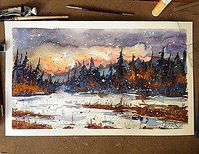 Obrazy - Obraz - Sneh a západ slnka - 7695938_