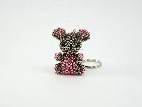 Kľúčenky - Prívesok na kľúče - myška bronzovo-ružová - 7694692_