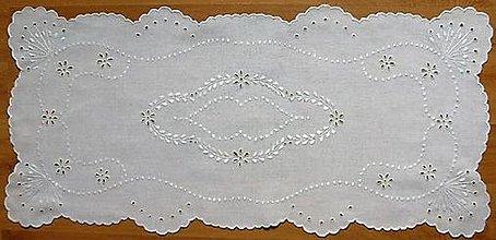 Úžitkový textil - Vyšívané prestieranie - richelieu, biela, 82 x 38 cm - 7695022_