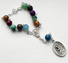 Iné šperky - Růženec do auta se Svatým Kryštofem (achát) - 7695911_