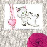 Obrazy - Mačička a srdiečko 4 - 7694724_