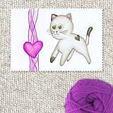 Obrazy - Mačička a srdiečko 6 - 7696996_