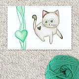 Obrazy - Mačička a srdiečko 7 - 7697483_