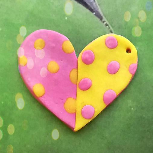 ❤ Valentínske srdiečko puntíky (prívesok)