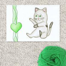 Obrazy - Mačička a srdiečko 5 - 7694725_