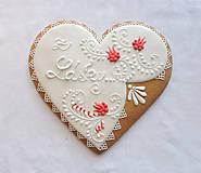 Dekorácie - Medovníkové srdce Z lásky - 7701155_