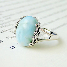 Prstene - Larimar & Ornaments Silver Ag 925 / Strieborný prsteň s larimarom - 7701163_