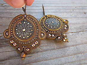 Náušnice - Button collection-bronze...soutache - 7699177_