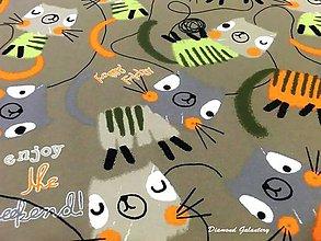 Textil - Úplet Happy enjoy Cat - cena za 10 cm - 7699038_
