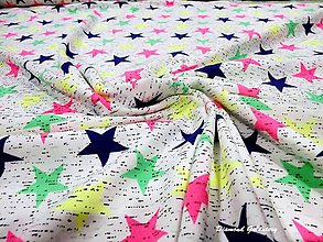 Textil - Úplet hviezdy farebné - cena za 10 cm - 7699336_