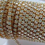 - Štrasová metráž 2,4mm-crystal zlatá-10cm - 7698694_