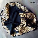 Šatky - V ten večer...-luxusná hodvábna šatka s maľovanou zlatou krajkou - 7700471_