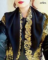 Šatky - V ten večer...-luxusná hodvábna šatka s maľovanou zlatou krajkou - 7700481_