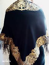 Šatky - V ten večer...-luxusná hodvábna šatka s maľovanou zlatou krajkou - 7700483_