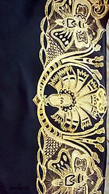 Šatky - V ten večer...-luxusná hodvábna šatka s maľovanou zlatou krajkou - 7700746_