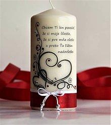 Svietidlá a sviečky - Dekoračná sviečka - valentínka II. - 7700658_