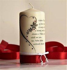 Svietidlá a sviečky - Dekoračná sviečka  - valentínka I. - 7700672_