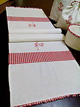 Úžitkový textil - Ľanová štóla s červenou kombináciou - 7701826_