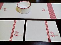 Úžitkový textil - Ľanová štóla s červenou kombináciou - 7701830_
