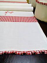 Úžitkový textil - Ľanová štóla s červenou kombináciou - 7701831_