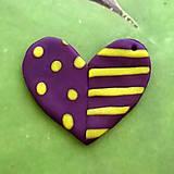 Náhrdelníky - ❤ Valentínske srdiečko puntíky a pásiky (prívesok) - 7699179_