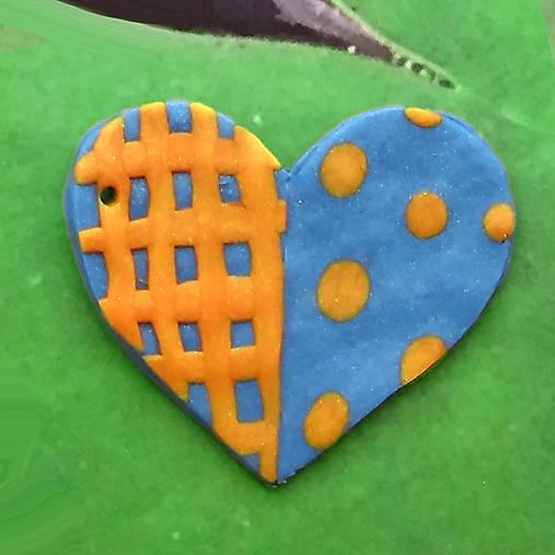 ❤ Valentínske srdiečko puntíky a mriežka (prívesok)