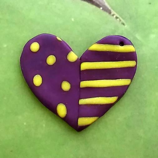 ❤ Valentínske srdiečko puntíky a pásiky (prívesok)