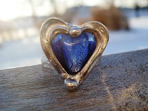 Prstene - Tmavomodré srdiečko-tiffany - 7703769_