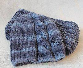 Čiapky - Modrá melírovaná čiapka a nákrčník - 7704934_