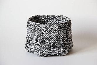 Dekorácie - Koš pletený černobílý - 7703258_